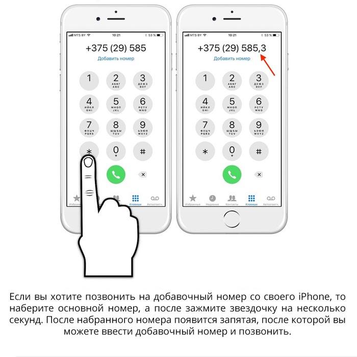 способ ввода добавочного номера на Айфоне
